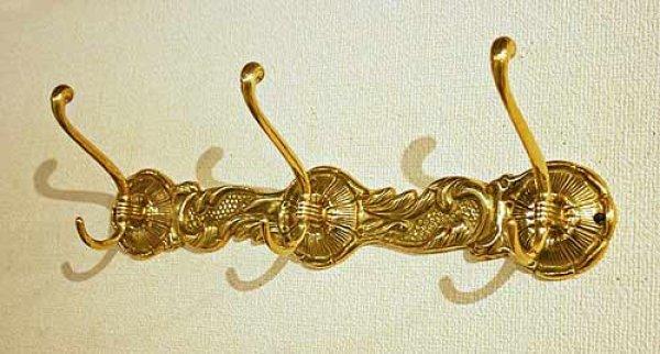 画像1: イタリア製 輸入雑貨 真鍮 ブラス コートハンガー 壁掛け 3フック アンティーク風 388072 リビングスタジオ 直輸入 (1)