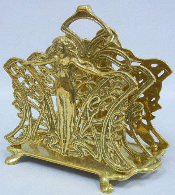画像1: イタリア製 輸入雑貨 真鍮 ブラス ナプキンホルダー レタースタンド ナプキン立て テーブル アールヌーボー アンティーク風 スティーラ C3-338 リビングスタジオ 直輸入 (1)