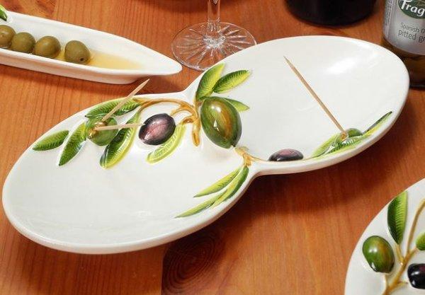 画像1: イタリア製 輸入雑貨 コンビトレー 29cm ミニボウル オードブル スナック ナッツ フルーツ デザート ピック穴付き 陶器 皿 バッサーノ オリーブ BRE-1451-OV 直輸入 リビングスタジオ (1)