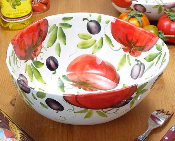 画像1: イタリア製 輸入雑貨 サラダボウル 深鉢 オーバル だ円 陶器 トマト パスタ スープ パーティー バッサーノ リビングスタジオ 直輸入 BRE-1768-25T (1)