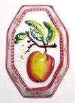 画像1: イタリア製 輸入雑貨 壁飾り リンゴ アップル フルーツ 陶器 壁掛け 八角形 風水 ハンドメイド バッサーノ リビングスタジオ 直輸入 BRE-195L-AP (1)