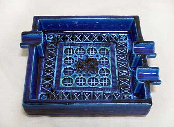 画像1: イタリア製 輸入雑貨 陶器 灰皿 22×18cm トレー ブルー Bitossi ビトッシ Flavia フラビア リミニブルー グラフィート トスカーナ G9-F106 送料無料 (1)