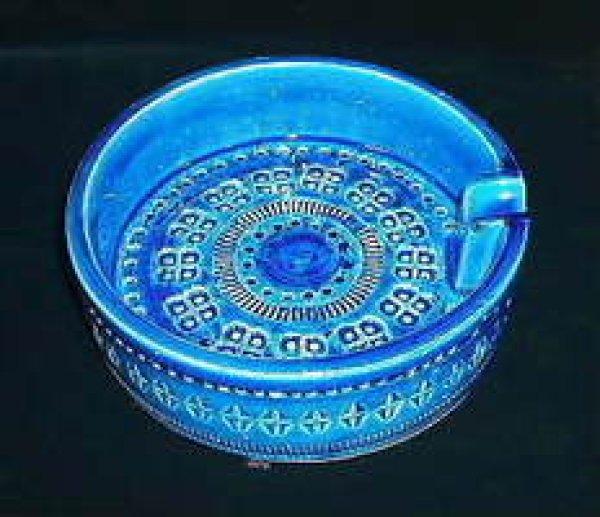 画像1: イタリア製 輸入雑貨 陶器 灰皿 15.5cm トレー ブルー Bitossi ビトッシ Flavia フラビア リミニブルー グラフィート トスカーナ G9-F73 (1)