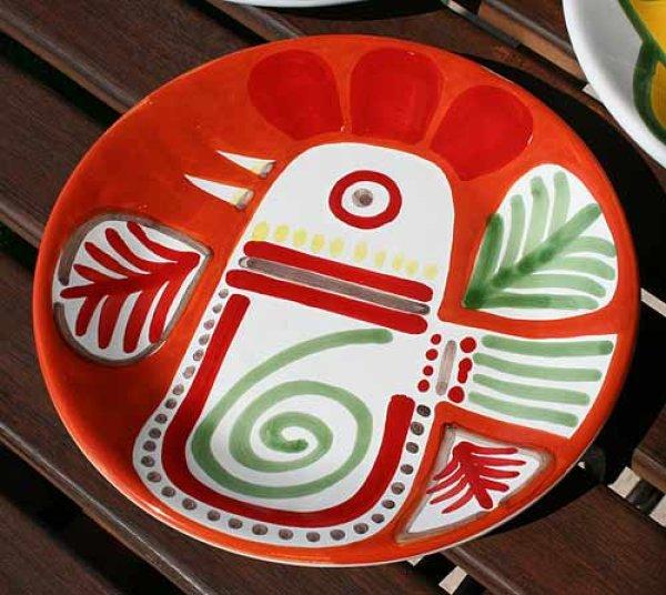 画像1: イタリア製 輸入雑貨 シチリア 陶器 絵皿 壁飾り 壁掛け 手描き ニワトリ 鳥 レッド オレンジ デシモーネ デシモネ desimone ハンドペイント 537PN (1)