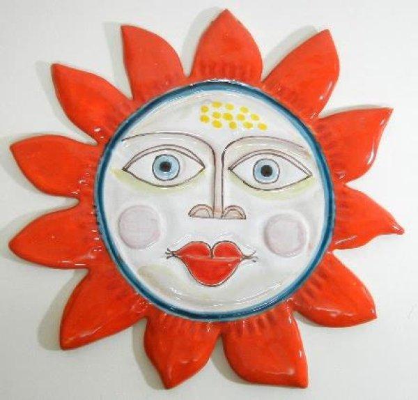 画像1: イタリア製 輸入雑貨 陶器 壁飾り 太陽 レッド 赤 シチリア デシモーネ デシモネ Desimone 707BO 30cm 直輸入 リビングスタジオ 送料無料 (1)