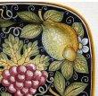 画像3:  イタリア製 輸入雑貨 絵皿 プレート 飾り皿 40×40cm 陶器 フルーツ 黒 ブラック デルータ マヨルカ SBERNA ISB-3 リビングスタジオ 送料無料 (3)