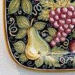画像4:  イタリア製 輸入雑貨 絵皿 プレート 飾り皿 40×40cm 陶器 フルーツ 黒 ブラック デルータ マヨルカ SBERNA ISB-3 リビングスタジオ 送料無料 (4)