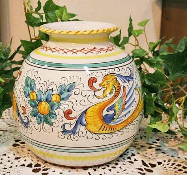 画像1: イタリア製 輸入雑貨 花瓶 フラワーベース 陶器 マヨルカ焼き デルータ Deruta ドラゴン H19.5cm Sberna 794-20 リビングスタジオ 直輸入 送料無料 (1)