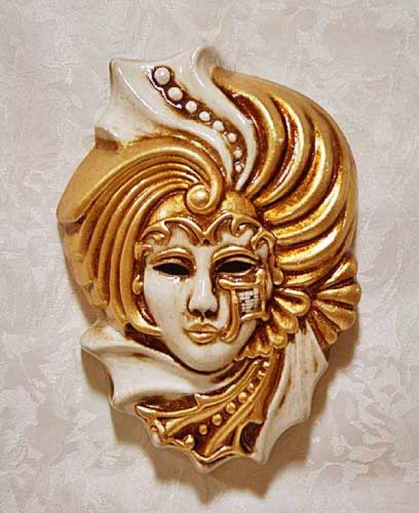画像1: イタリア製 輸入雑貨 ベネチアンマスク 壁飾り 陶器 テラコッタ ベージュ ゴールド 金 マスカレード ヴェネチア 直輸入 ラグーナ社 BCE-06S 貴公子 リビングスタジオ (1)