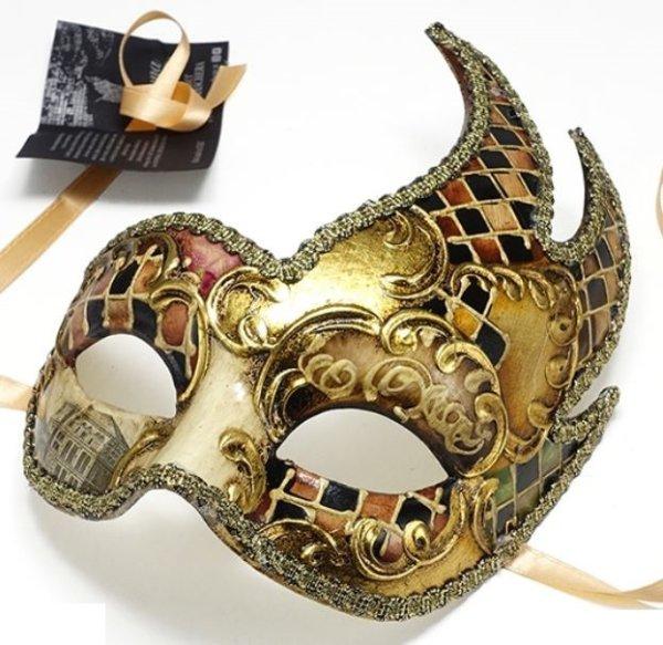 画像1: イタリア製 輸入雑貨 ベネチアンマスク 仮面 ブラウン 茶 ゴールド 金 コパー マスカレード カーニバル ラグーナ BCE-46br 直輸入 リビングスタジオ (1)