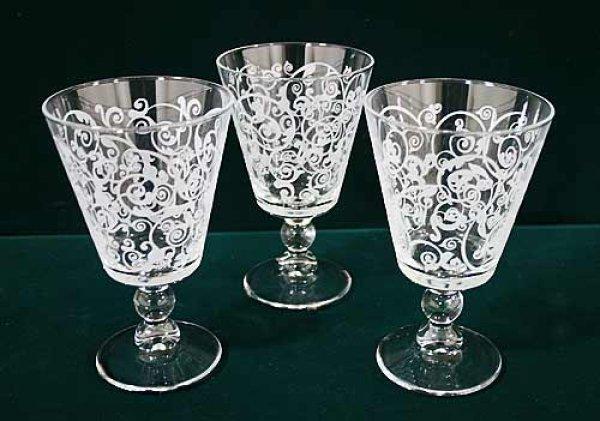 画像1: イタリア製 輸入雑貨 ワイングラス ウォーターグラス 3個セット アラベスク パーティー ディナー 日常使い Cerve チェルヴェ 9K-R-M32550 (1)