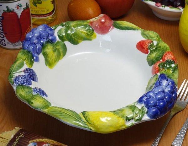 画像1: イタリア製 輸入雑貨 パスタプレート サラダボウル フルーツ ブドウ 盛皿 大鉢 29cm メインディッシュ BRE-1291-28FR 直輸入 リビングスタジオ (1)