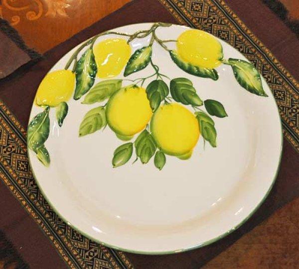 画像1: イタリア製 輸入雑貨 ディナー皿 円形 30cm レモン カレー スパゲティ バッサーノ ハンドペイント BRE-2462-30LE 直輸入 リビングスタジオ (1)