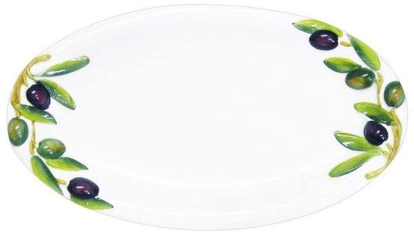 画像1: イタリア製 輸入雑貨 ディナープレート 皿 パスタ オリーブ 陶器 楕円形 メインディッシュ バッサーノ P2-1327OL 直輸入 リビングスタジオ (1)