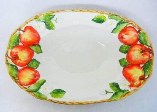 画像1: イタリア製 輸入雑貨 皿 リンゴ柄 プレート 楕円 パスタ サラダ オードブル バッサーノ 陶器 手描き P2-1450M 直輸入 リビングスタジオ (1)