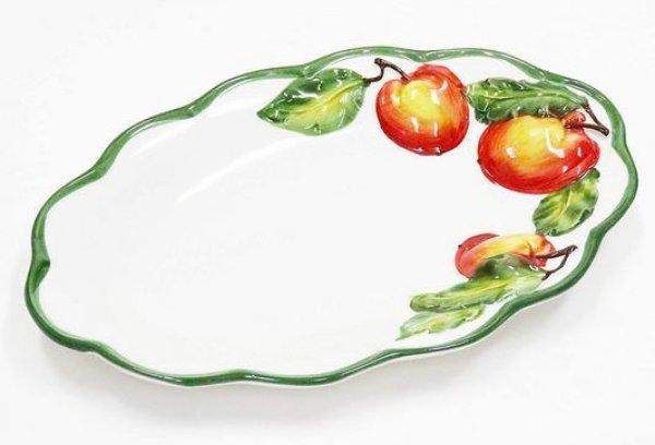 画像1: イタリア製 輸入雑貨 皿 リンゴ プレート 楕円 パスタ ディナー サラダ オードブル バッサーノ 陶器 P2-145230 直輸入 リビングスタジオ (1)