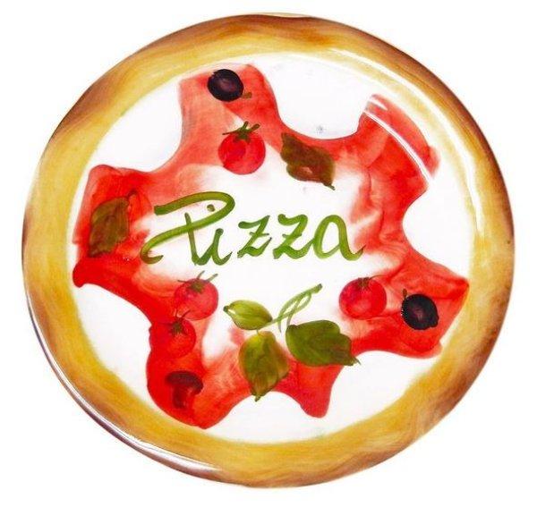 画像1: イタリア製 輸入雑貨 ピザ プレート 円形 皿 26cm バッサーノ 陶器 パスタ皿 ディナー皿 手描き P2-147026 直輸入 リビングスタジオ (1)