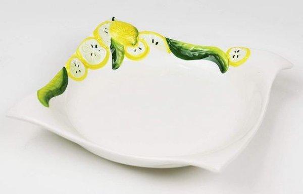 画像1: イタリア製 輸入雑貨 深皿 レモン柄 プレート サラダ ボウル 小鉢 小皿 おつまみ バッサーノ 陶器 手描き P2-1664 直輸入 リビングスタジオ (1)