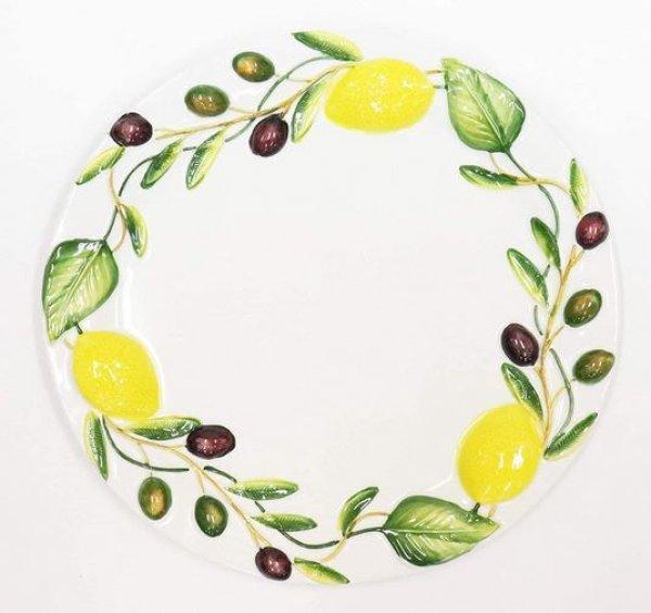 画像1: イタリア製 輸入雑貨 皿 レモン オリーブ プレート 円形 パスタ サラダ オードブル バッサーノ 陶器 P2-2362OL 直輸入 リビングスタジオ (1)