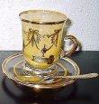 画像3: イタリア製 輸入雑貨 直輸入 カップソーサー ティーカップ ガラス ペア セット イエロー 黄色 インターグラス Interglass HKT034man 姫系 ギフト リビングスタジオ 送料無料 (3)