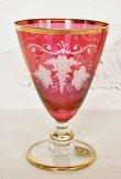 画像3: イタリア製 輸入雑貨 ワイングラス ペア セット ピンク 金 ティモン TIMON エッチング 切子 ベネチア 2378R-G 送料無料 リビングスタジオ 直輸入 (3)