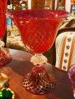 画像4: イタリア製 輸入雑貨 ベネチアンガラス コンポート H35.5cm 赤 金箔 リビングスタジオ 直輸入 ヴェネチアンガラス Murano ムラノガラス マエストロ 送料無料 (4)