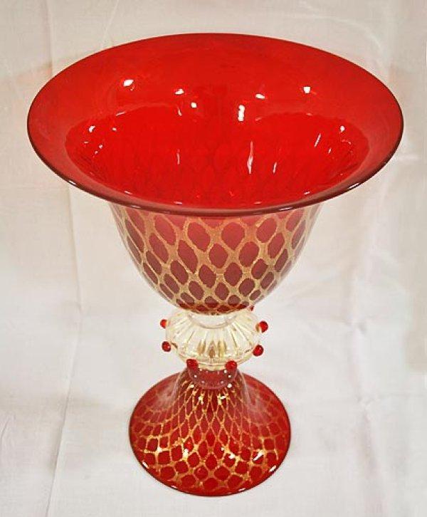 画像1: イタリア製 輸入雑貨 ベネチアンガラス コンポート H35.5cm 赤 金箔 リビングスタジオ 直輸入 ヴェネチアンガラス Murano ムラノガラス マエストロ 送料無料 (1)