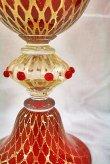 画像3: イタリア製 輸入雑貨 ベネチアンガラス コンポート H35.5cm 赤 金箔 リビングスタジオ 直輸入 ヴェネチアンガラス Murano ムラノガラス マエストロ 送料無料 (3)