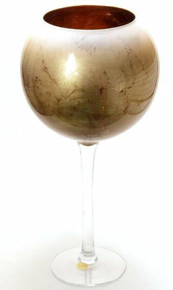 画像1: イタリア製 輸入雑貨 フラワーベース 花瓶 オブジェ ガラス ゴールドリーフ 金箔 ナポリ マエストロ グラス ANC-82 リビングスタジオ 直輸入 送料無料 (1)
