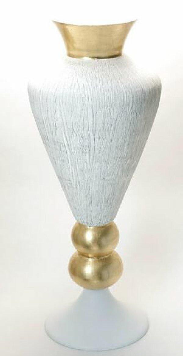 画像1: イタリア製 輸入雑貨 フラワーベース 花瓶 ガラス ストーンフィニッシュ ホワイト ゴールド 白 金 ナポリ H84cm  FRN-02W-GL 送料無料 リビングスタジオ 直輸入 (1)
