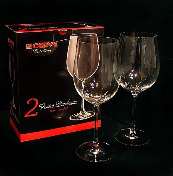 画像1: イタリア製 輸入雑貨 直輸入 ワイングラス グラスセット ペア グラス ワイン ボルドー ブルゴーニュ Cerve チェルヴェ 61cl 4671 リビングスタジオ (1)