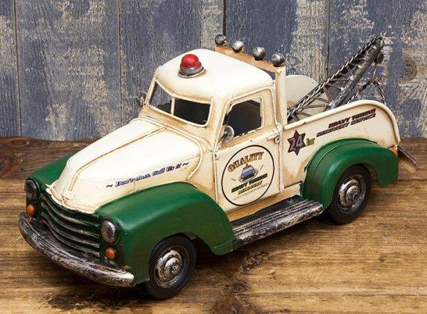 画像1: 輸入雑貨 ブリキ ミニカー 置物 レッカー車 トラック フォード グリーン アメリカン ビンテージ調 アンティーク風 1704E-6348 リビングスタジオ (1)