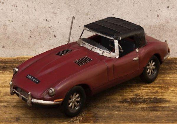 画像1: 輸入雑貨 置物 Good Old Days Car ジャガー Eタイプ レッド ブリキ ミニカー ビンテージ調 アンティーク風 オブジェ Q7162-1 リビングスタジオ (1)