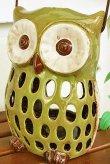 画像5: 輸入雑貨 キャンドルホルダー フクロウ グリーン 陶器 カンテラ オブジェ 置物 香炉 アロマ ガーデニング ハンギング H21cm 29240 (5)
