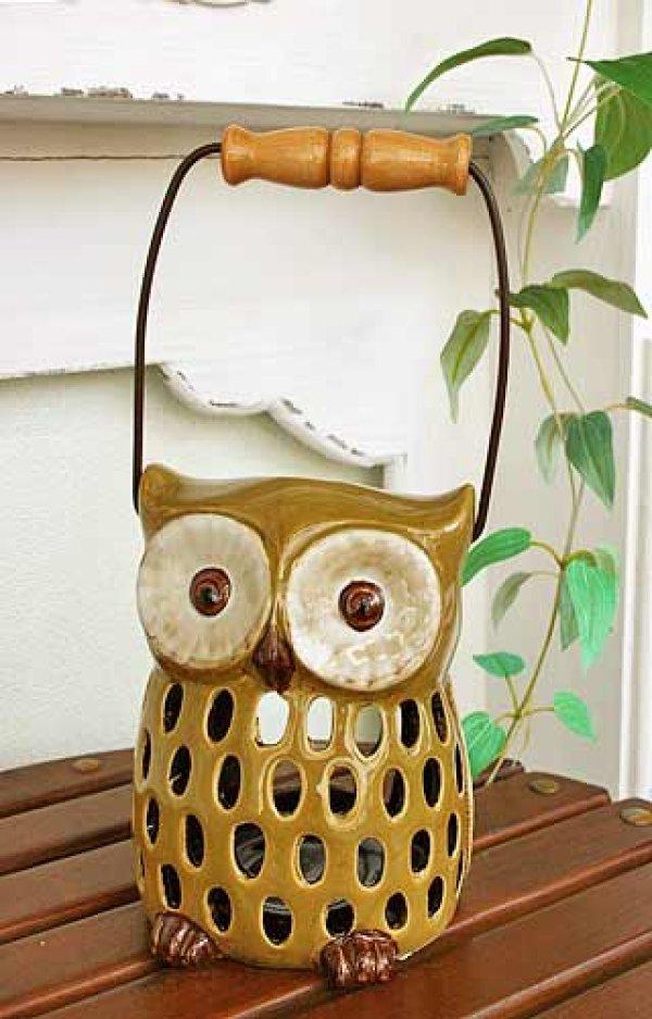 画像1: 輸入雑貨 キャンドルホルダー フクロウ グリーン 陶器 カンテラ オブジェ 置物 香炉 アロマ ガーデニング ハンギング H16cm 29241 (1)