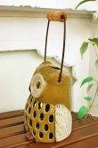 画像2: 輸入雑貨 キャンドルホルダー フクロウ グリーン 陶器 カンテラ オブジェ 置物 香炉 アロマ ガーデニング ハンギング H16cm 29241 (2)