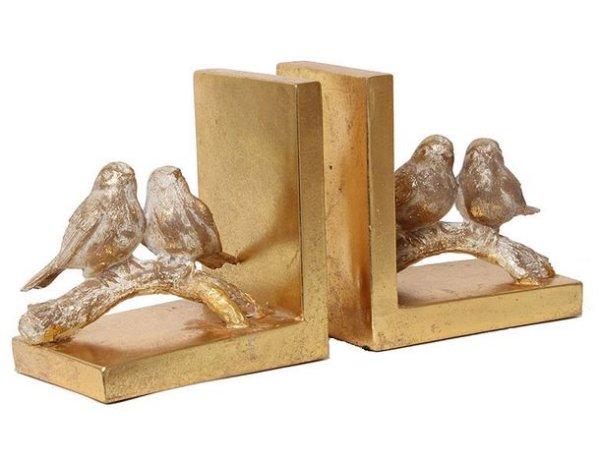 画像1: 輸入雑貨 ブックエンド 本立て 小鳥 ゴールド オブジェ 置物 シャビーシック アンティーク風 フレンチ イタリアン 姫系 AN-76277 (1)