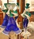 画像1: イタリア製 輸入雑貨 ベネチアングラス ペア人形 ダンサー グリーン ブルー ムラノガラス ヴェネチアン リビングスタジオ 直輸入 送料無料 (1)