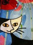 画像3: 輸入雑貨 スツール コンパクト ボックス 収納 刺繍 ロジーナキャット ポピーとネコ RS-26 ブルー ロジーナヴァハトマイスター Rosina Wachtmeister 猫 トルコ ウィーン (3)