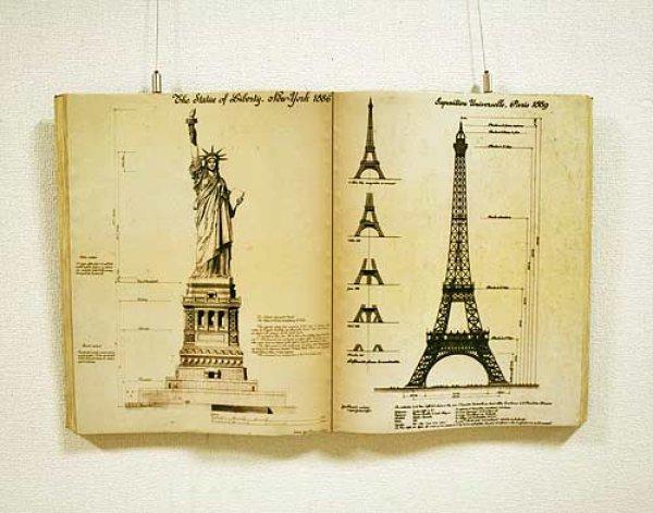 画像1: 輸入雑貨 本のようなエッフェル塔と自由の女神の詳細図の壁飾り ブックウォールアート 28561 (1)