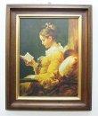 画像1: イタリア製 輸入雑貨 額絵 アートフレーム フラゴナール 読書する少女 娘 古木 アンティーク風 トスカーナ 3688h 送料無料 直輸入 リビングスタジオ (1)
