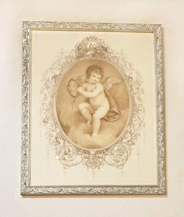 画像1: イタリア製 輸入雑貨 額絵 エンジェル アートフレーム 月桂冠の天使 バルトロッツィ エンゼル シルバー ロココ 姫系 FAL-6488-37 送料無料 (1)