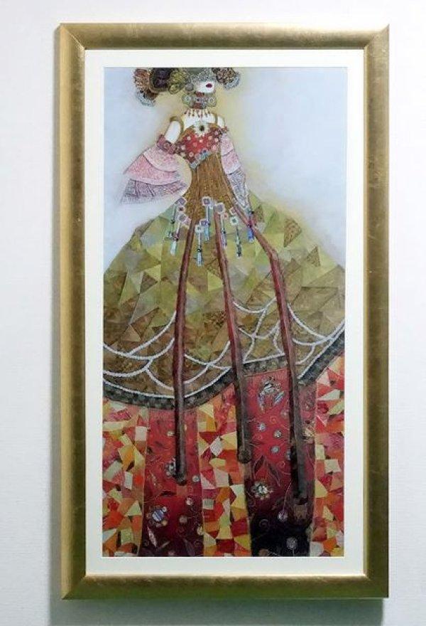 画像1: イタリア製 輸入雑貨 額絵 アートフレーム ヴァレリー モージュリ 「ロマンティックなソナティナ」 ゴールド 名作 ポスター アンティーク風 FAL-0250-24 66×117cm 大きめ リビングスタジオ 送料無料 (1)