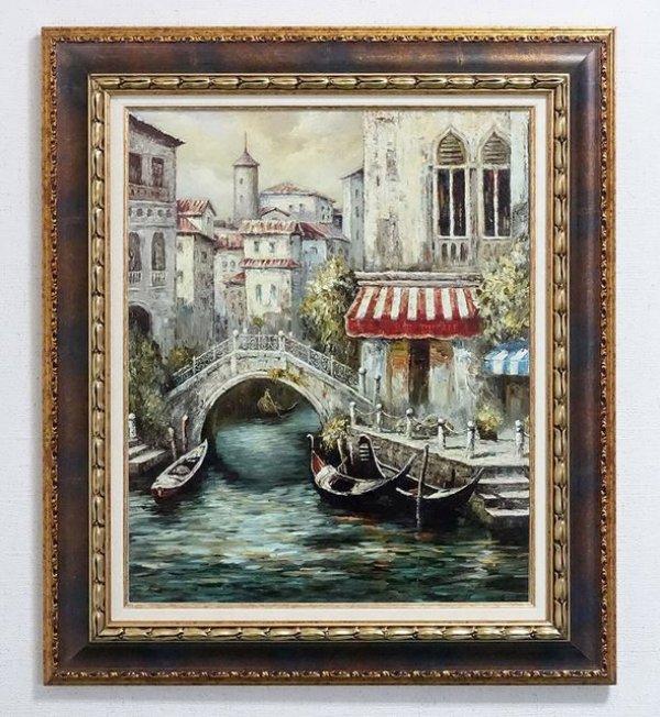 画像1: イタリア製 輸入雑貨 アートフレーム 額絵 風景画 ベネチア ジャンニ マンチーニ 運河 ゴンドラ 木製 FAL-0408 リビングスタジオ 送料無料 (1)