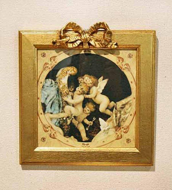 画像1: イタリア製 輸入雑貨 額絵 天使 エンジェル アートフレーム 愛の夢 マコフスキ― Makowsky エンゼル キューピッド 姫系 FAL-5602-97 (1)