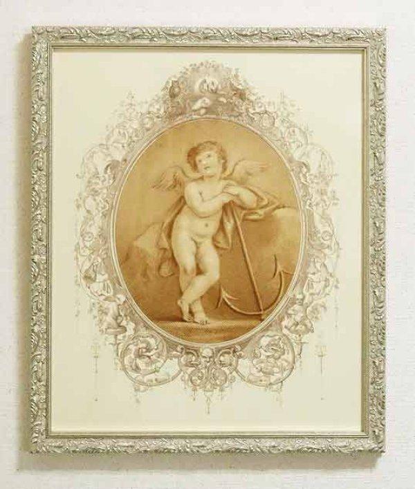画像1: イタリア製 輸入雑貨 額絵 エンジェル アートフレーム 天使と錨 バルトロッツィ エンゼル シルバー ロココ 姫系 FAL-6488-38 送料無料 (1)