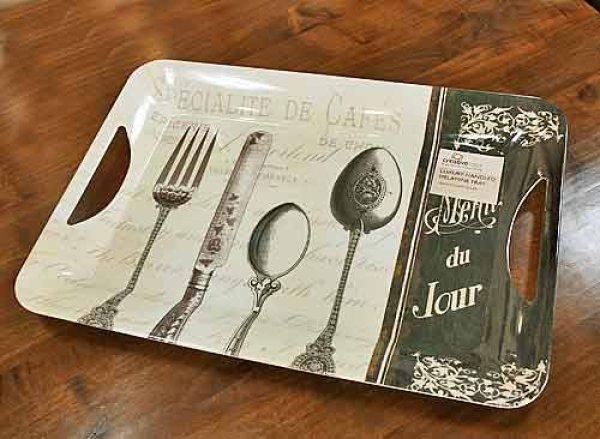 画像1: 輸入雑貨 シックなカトラリー柄ラージトレー Menu du Jour Creative Tops イギリス 英国 【メーカー直送:代引・同梱・送料無料対象外】 (1)