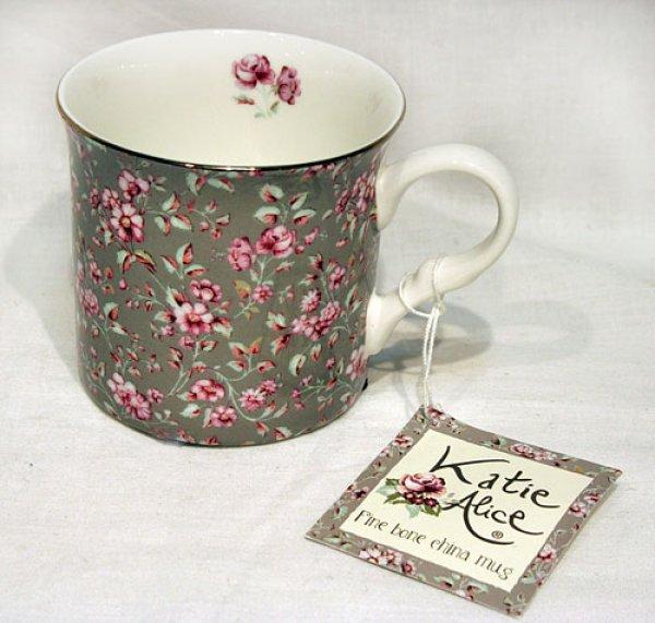 画像1: 輸入雑貨 Katie Aliceデザインの可愛いマグカップ Creative Tops Gray Floral イギリス 英国【メーカー直送:代引・同梱・送料無料対象外】 (1)