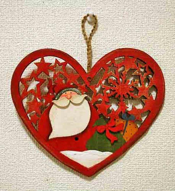 画像1: クリスマス 輸入雑貨 サンタクロース 壁飾り ハート 木製 木彫り 透かし オーナメント 壁掛け 赤 ツリー リース ナチュラル LHK-0281 (1)