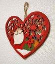 画像3: クリスマス 輸入雑貨 サンタクロース 壁飾り ハート 木製 木彫り 透かし オーナメント 壁掛け 赤 ツリー リース ナチュラル LHK-0281 (3)